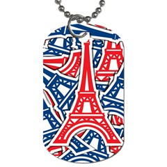 Eiffel Tower Paris Perancis Dog Tag (one Side) by AnjaniArt
