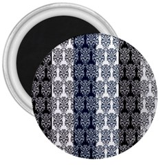 Digital Print Scrapbook Flower Leaf Colorgray Black Purple Blue 3  Magnets