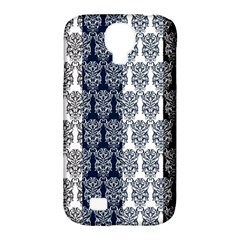 Digital Print Scrapbook Flower Leaf Colorgray Black Purple Blue Samsung Galaxy S4 Classic Hardshell Case (pc+silicone)