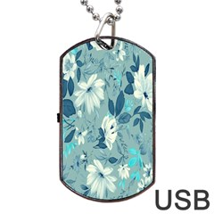 Floral Pattern Wallpaper Dog Tag Usb Flash (two Sides)