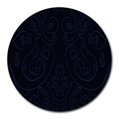 Flower Floral Blue Black Round Mousepads