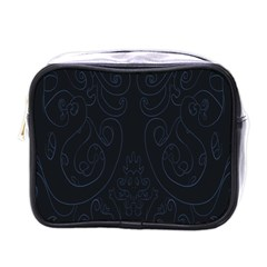 Flower Floral Blue Black Mini Toiletries Bags by AnjaniArt