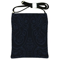 Flower Floral Blue Black Shoulder Sling Bags by AnjaniArt