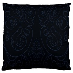 Flower Floral Blue Black Large Cushion Case (one Side) by AnjaniArt