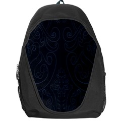 Flower Floral Blue Black Backpack Bag by AnjaniArt