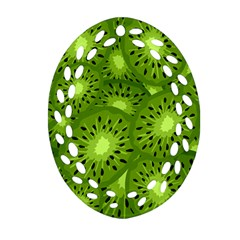 Fruit Kiwi Green Oval Filigree Ornament (two Sides) by AnjaniArt