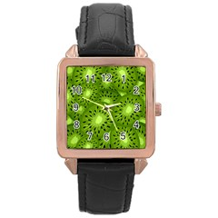 Fruit Kiwi Green Rose Gold Leather Watch  by AnjaniArt