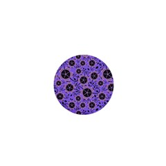Flower Floral Purple Leaf Background 1  Mini Buttons