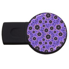 Flower Floral Purple Leaf Background Usb Flash Drive Round (4 Gb) by AnjaniArt