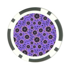 Flower Floral Purple Leaf Background Poker Chip Card Guard (10 Pack) by AnjaniArt