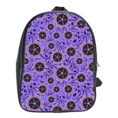 Flower Floral Purple Leaf Background School Bags(large)  by AnjaniArt