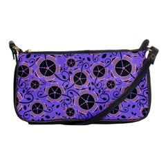 Flower Floral Purple Leaf Background Shoulder Clutch Bags by AnjaniArt