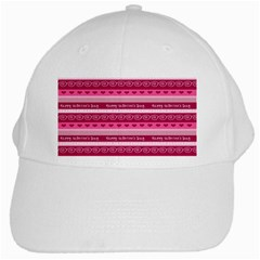 Happy Valentine Day Love Heart Pink Red Chevron Wave White Cap by AnjaniArt