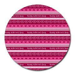 Happy Valentine Day Love Heart Pink Red Chevron Wave Round Mousepads by AnjaniArt