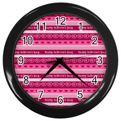 Happy Valentine Day Love Heart Pink Red Chevron Wave Wall Clocks (black) by AnjaniArt