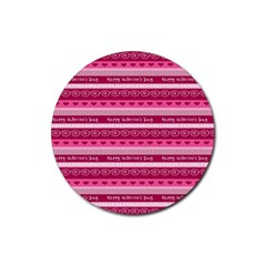 Happy Valentine Day Love Heart Pink Red Chevron Wave Rubber Coaster (round)  by AnjaniArt