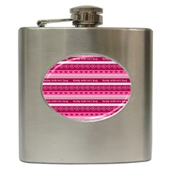 Happy Valentine Day Love Heart Pink Red Chevron Wave Hip Flask (6 Oz)