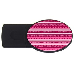 Happy Valentine Day Love Heart Pink Red Chevron Wave Usb Flash Drive Oval (2 Gb) by AnjaniArt