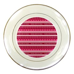 Happy Valentine Day Love Heart Pink Red Chevron Wave Porcelain Plates by AnjaniArt