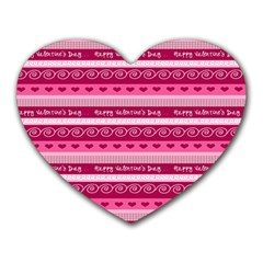 Happy Valentine Day Love Heart Pink Red Chevron Wave Heart Mousepads by AnjaniArt