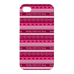 Happy Valentine Day Love Heart Pink Red Chevron Wave Apple Iphone 4/4s Hardshell Case