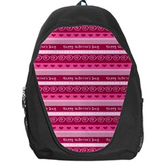 Happy Valentine Day Love Heart Pink Red Chevron Wave Backpack Bag by AnjaniArt