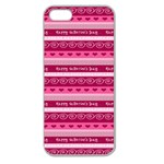 Happy Valentine Day Love Heart Pink Red Chevron Wave Apple Seamless iPhone 5 Case (Clear) Front
