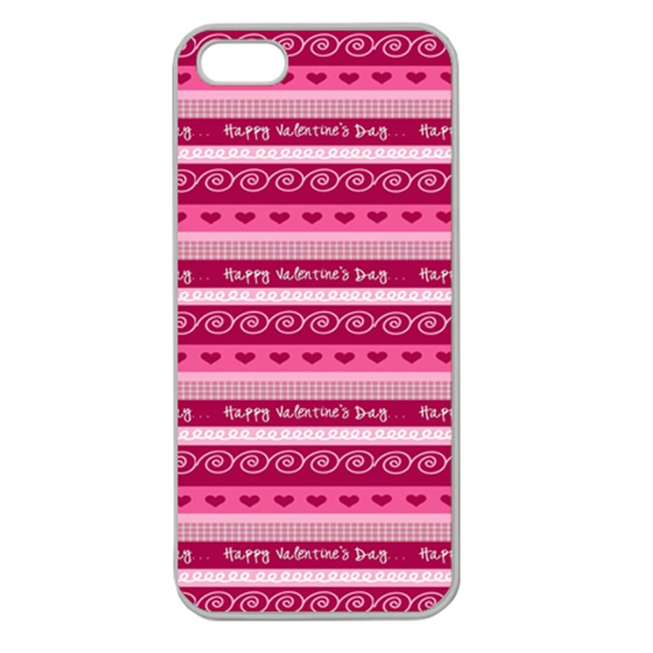 Happy Valentine Day Love Heart Pink Red Chevron Wave Apple Seamless iPhone 5 Case (Clear)