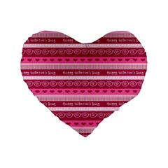 Happy Valentine Day Love Heart Pink Red Chevron Wave Standard 16  Premium Heart Shape Cushions by AnjaniArt