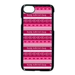 Happy Valentine Day Love Heart Pink Red Chevron Wave Apple Iphone 7 Seamless Case (black)