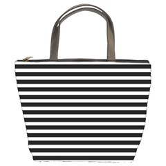Horizontal Stripes Black Bucket Bags by AnjaniArt