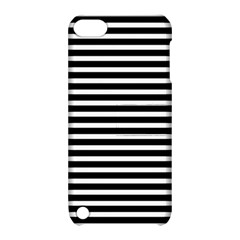 Horizontal Stripes Black Apple Ipod Touch 5 Hardshell Case With Stand