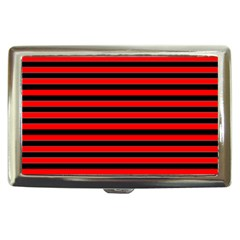 Horizontal Stripes Red Black Cigarette Money Cases by AnjaniArt