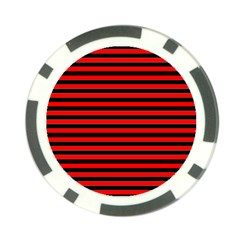 Horizontal Stripes Red Black Poker Chip Card Guard