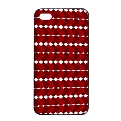 Heart Love Pink Red Wave Chevron Valentine Day Apple Iphone 4/4s Seamless Case (black)