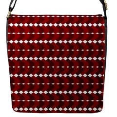 Heart Love Pink Red Wave Chevron Valentine Day Flap Messenger Bag (s) by AnjaniArt
