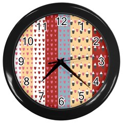 Love Heart Cake Valentine Red Gray Blue Pink Wall Clocks (black)