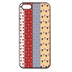 Love Heart Cake Valentine Red Gray Blue Pink Apple Iphone 5 Seamless Case (black)