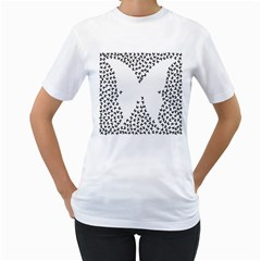 Negative Space Butterflies Black Women s T Shirt (white) (two Sided)