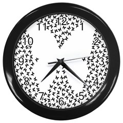 Negative Space Butterflies Black Wall Clocks (black)