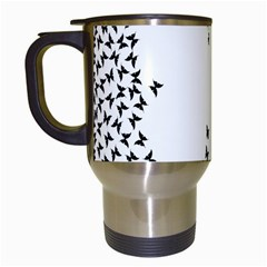 Negative Space Butterflies Black Travel Mugs (white) by AnjaniArt