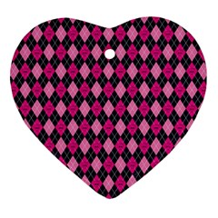 Pink Baby Showers Skull Chevron Wave Pink Purple Black Pink Ornament (heart) by AnjaniArt