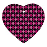 Pink Baby Showers Skull Chevron Wave Pink Purple Black Pink Ornament (Heart) Front