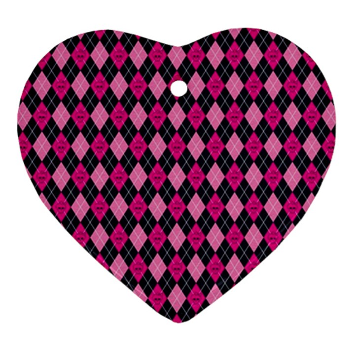 Pink Baby Showers Skull Chevron Wave Pink Purple Black Pink Ornament (Heart)