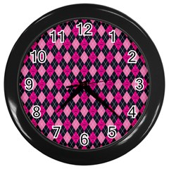 Pink Baby Showers Skull Chevron Wave Pink Purple Black Pink Wall Clocks (black) by AnjaniArt