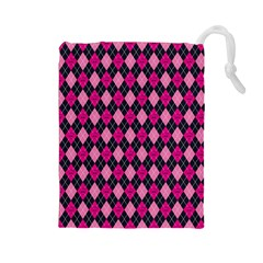 Pink Baby Showers Skull Chevron Wave Pink Purple Black Pink Drawstring Pouches (large)  by AnjaniArt