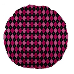 Pink Baby Showers Skull Chevron Wave Pink Purple Black Pink Large 18  Premium Flano Round Cushions by AnjaniArt