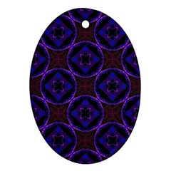 Background Colour Blue Flower Ornament (oval) by AnjaniArt