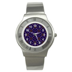 Background Colour Blue Flower Stainless Steel Watch