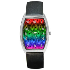 Peacock Feathers Rainbow Barrel Style Metal Watch